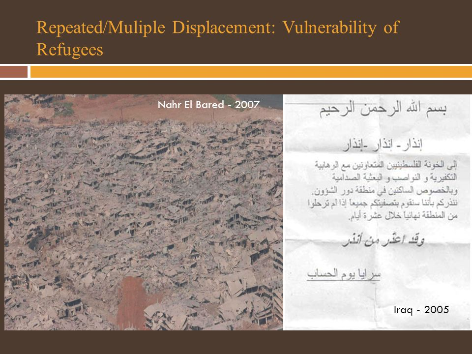 Repeated/Muliple Displacement: Vulnerability of Refugees Nahr El Bared - 2007 Iraq - 2005