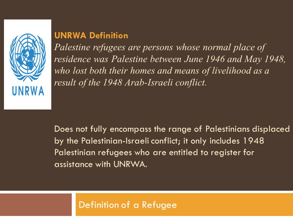 UNRWA Definition Palestine refugees are persons whose normal place of residence was Palestine between June 1946 and May 1948, who lost both their homes and means of livelihood as a result of the 1948 Arab-Israeli conflict.
