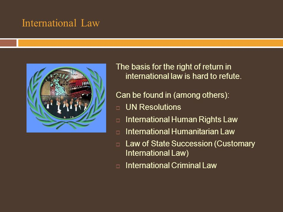 International Law The basis for the right of return in international law is hard to refute.
