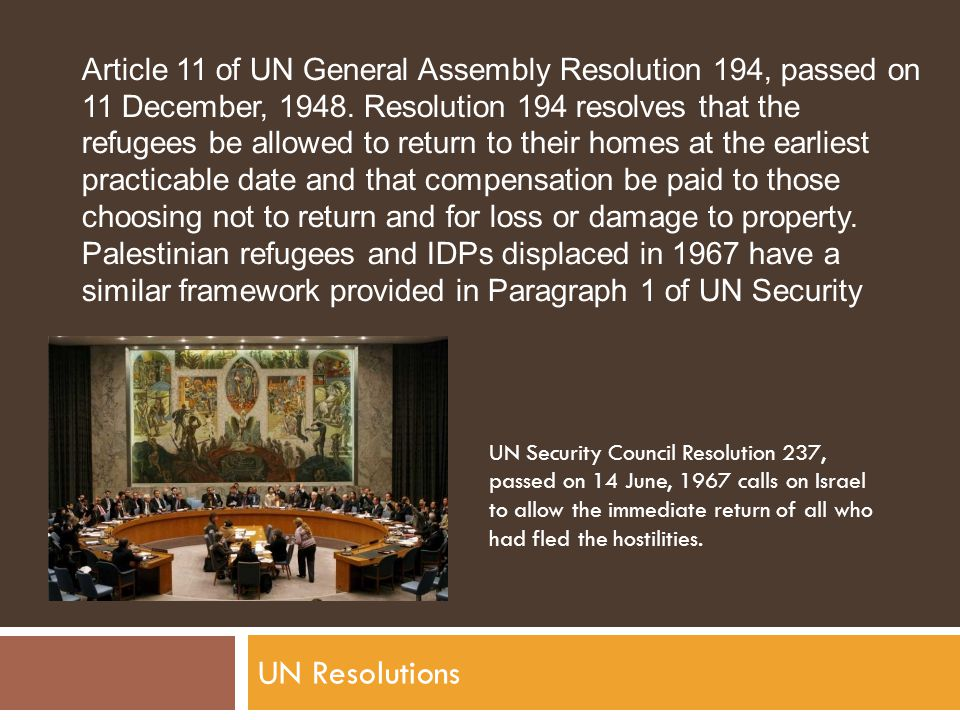 UN Resolutions Article 11 of UN General Assembly Resolution 194, passed on 11 December, 1948.
