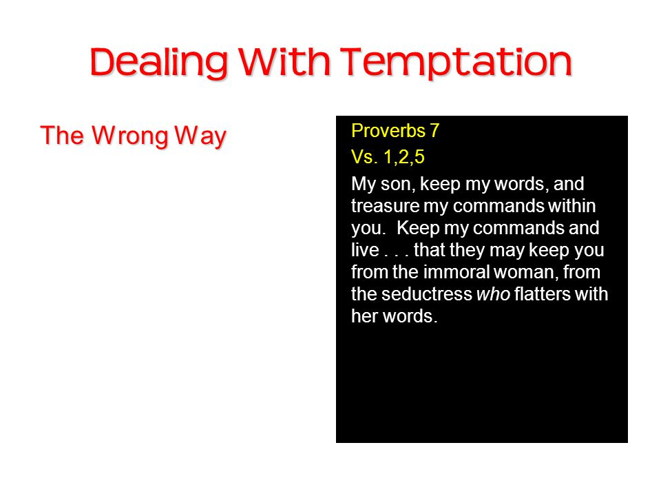 Dealing With Temptation The Wrong Way Proverbs 7 Vs.