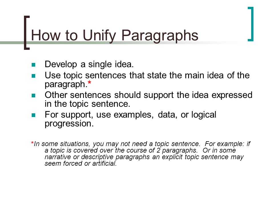 How to Unify Paragraphs Develop a single idea.