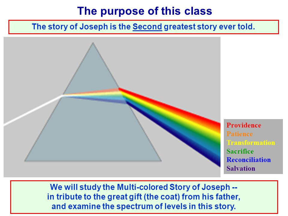 The purpose of this class We will study the Multi-colored Story of Joseph -- in tribute to the great gift (the coat) from his father, and examine the spectrum of levels in this story.
