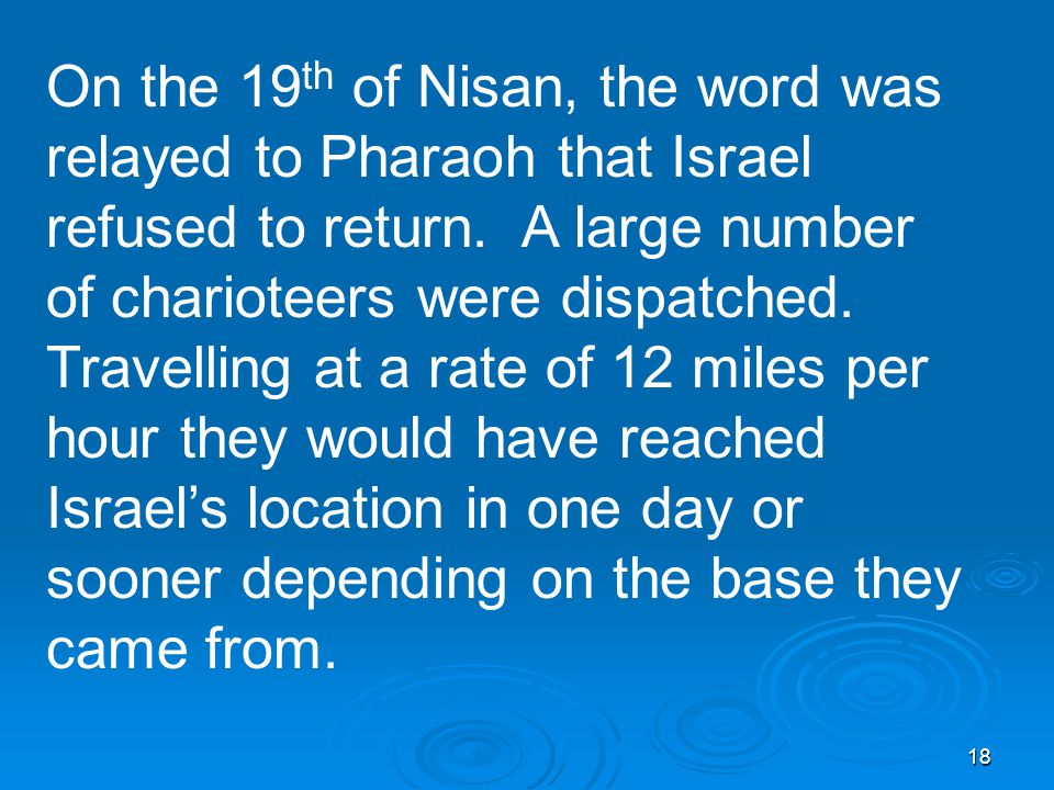 18 On the 19 th of Nisan, the word was relayed to Pharaoh that Israel refused to return.