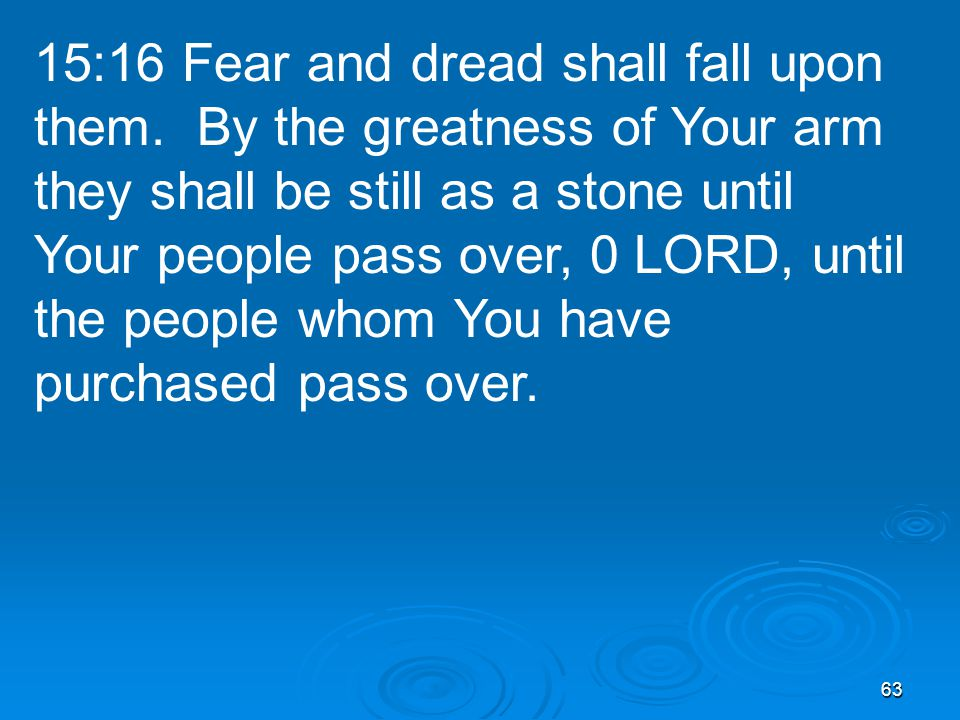 63 15:16 Fear and dread shall fall upon them.