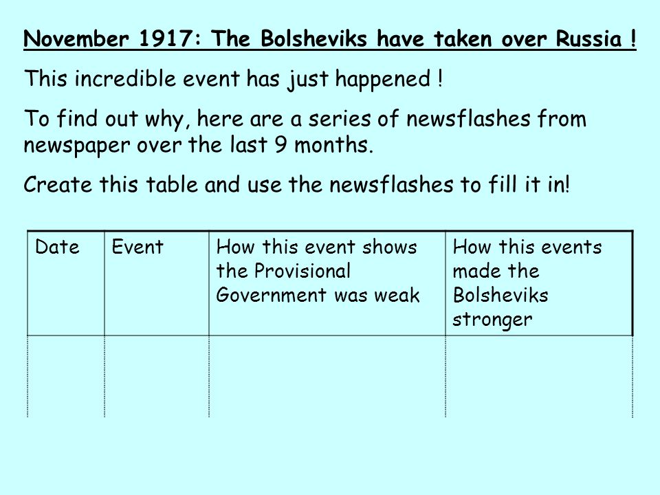 November 1917: The Bolsheviks have taken over Russia .