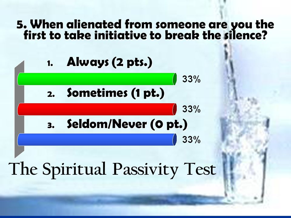 5. When alienated from someone are you the first to take initiative to break the silence.