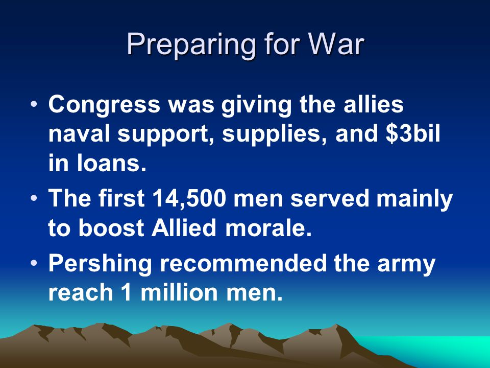 Preparing for War Congress was giving the allies naval support, supplies, and $3bil in loans.