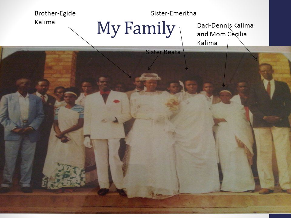 My Family Dad-Dennis Kalima and Mom Cecilia Kalima Sister Beata Sister-EmerithaBrother-Egide Kalima