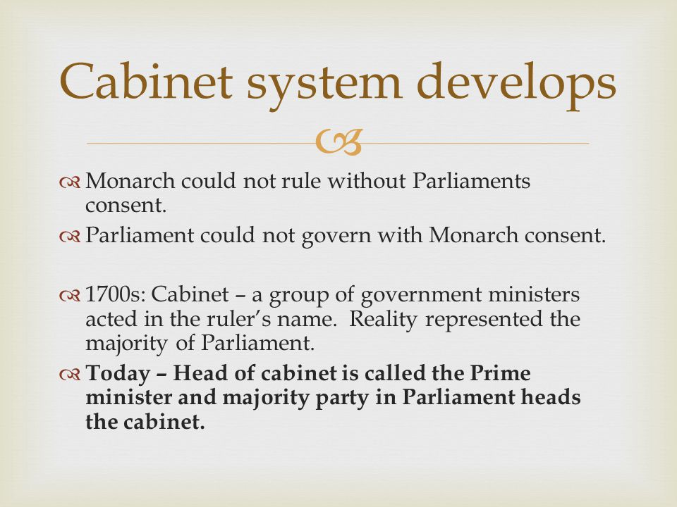   Monarch could not rule without Parliaments consent.