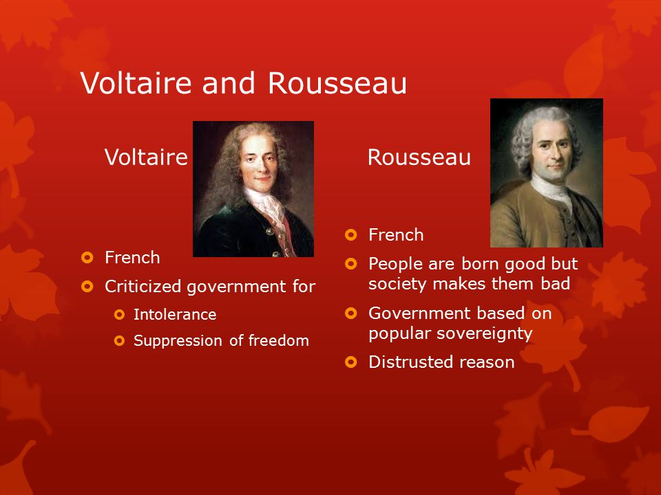Voltaire and Rousseau Voltaire  French  Criticized government for  Intolerance  Suppression of freedom Rousseau  French  People are born good but society makes them bad  Government based on popular sovereignty  Distrusted reason