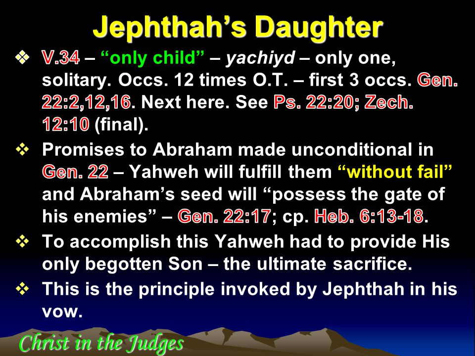 Jephthah's Daughter Christ in the Judges
