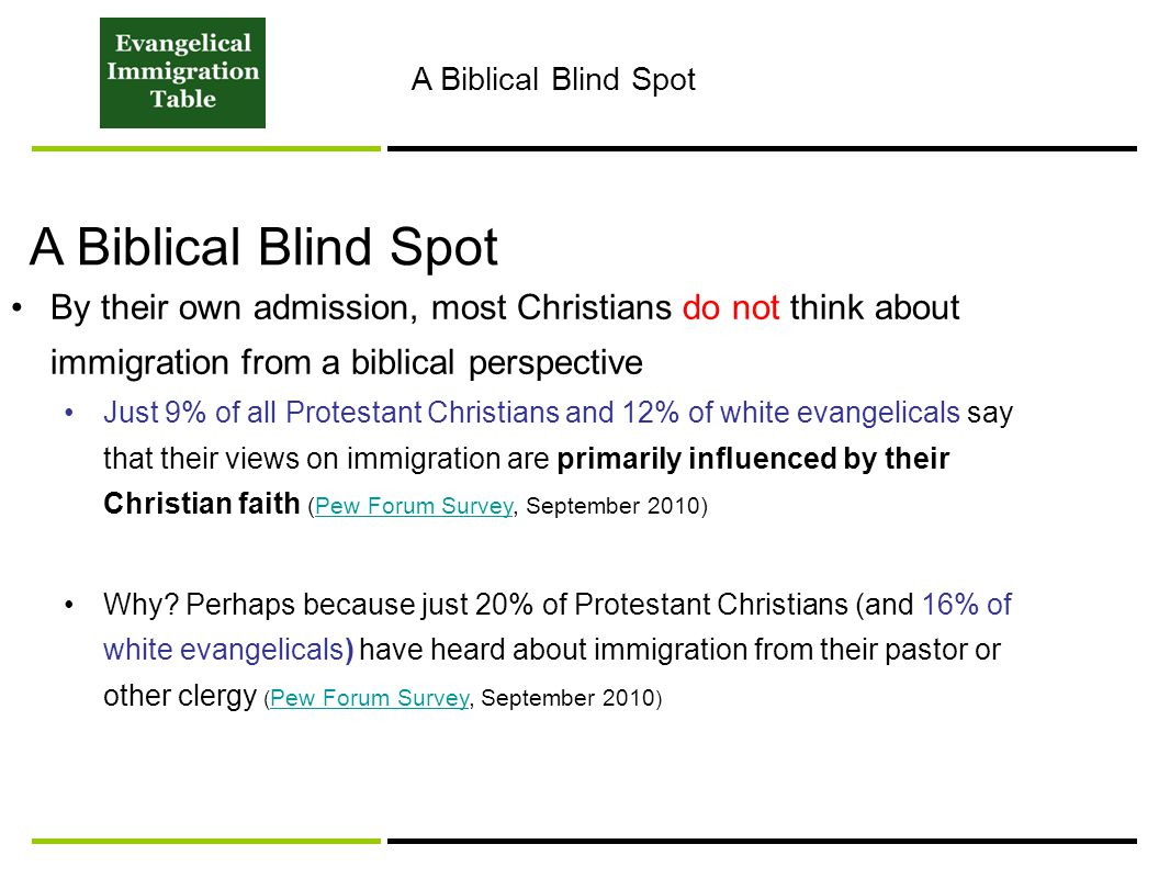 By their own admission, most Christians do not think about immigration from a biblical perspective Just 9% of all Protestant Christians and 12% of white evangelicals say that their views on immigration are primarily influenced by their Christian faith (Pew Forum Survey, September 2010)Pew Forum Survey Why.
