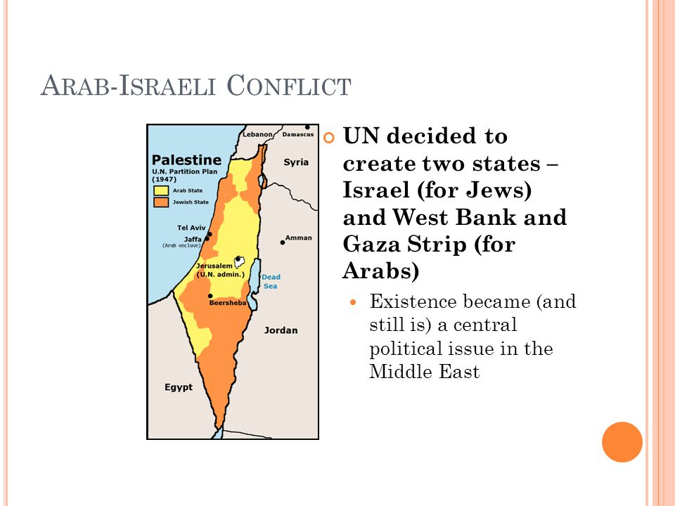A RAB -I SRAELI C ONFLICT UN decided to create two states – Israel (for Jews) and West Bank and Gaza Strip (for Arabs) Existence became (and still is) a central political issue in the Middle East