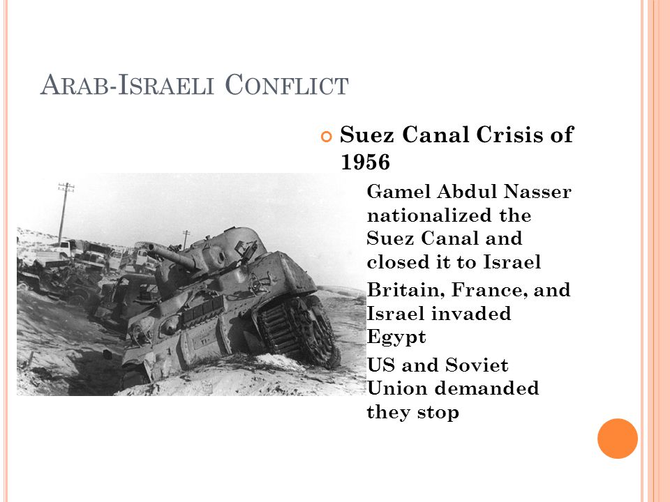 A RAB -I SRAELI C ONFLICT Suez Canal Crisis of 1956 Gamel Abdul Nasser nationalized the Suez Canal and closed it to Israel Britain, France, and Israel invaded Egypt US and Soviet Union demanded they stop