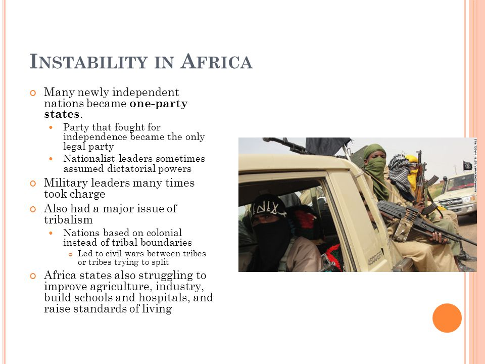 I NSTABILITY IN A FRICA Many newly independent nations became one-party states.