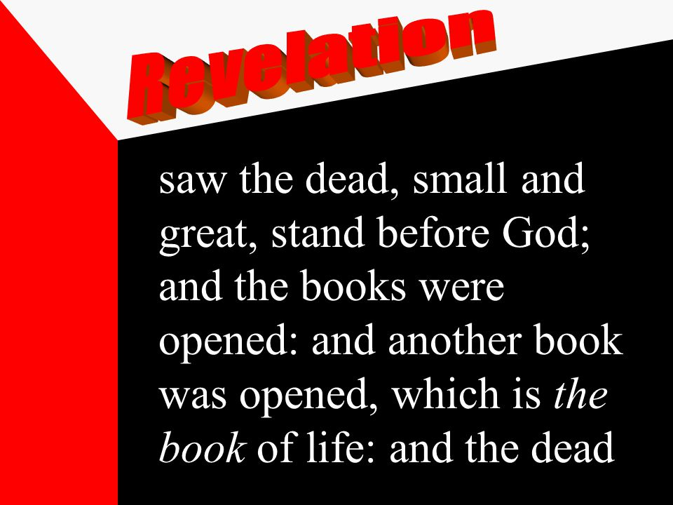 saw the dead, small and great, stand before God; and the books were opened: and another book was opened, which is the book of life: and the dead