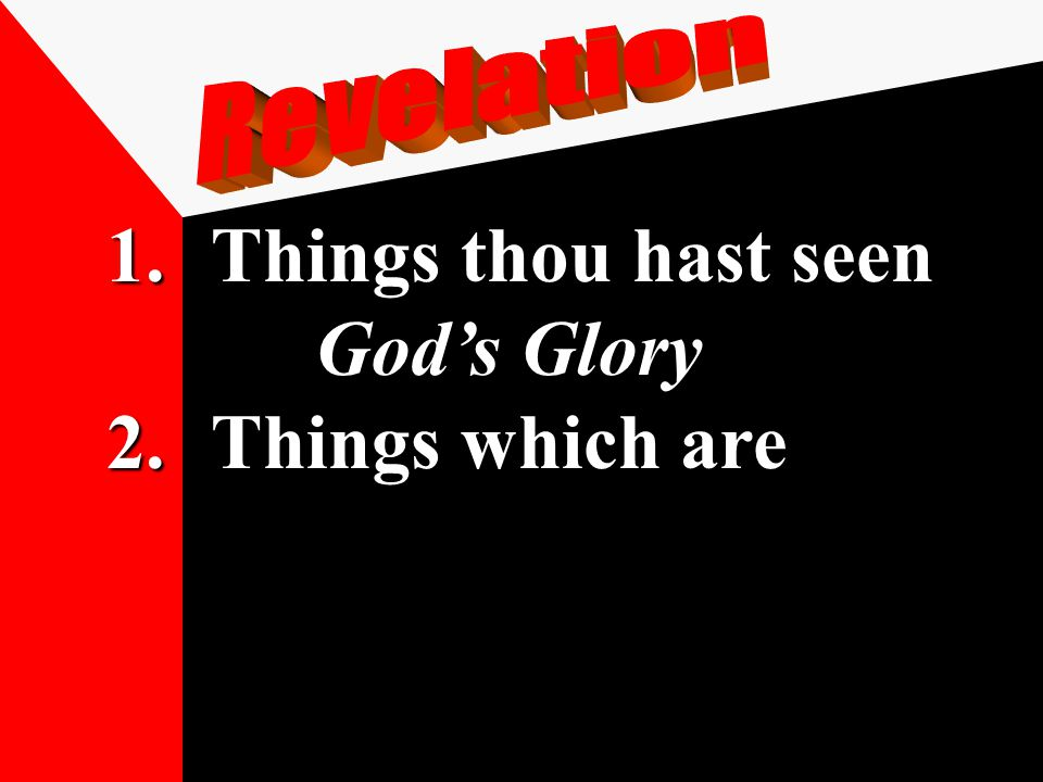 1.Things thou hast seen God's Glory 2.Things which are