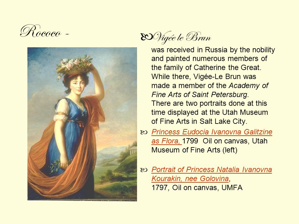 Vigée le Brun was received in Russia by the nobility and painted numerous members of the family of Catherine the Great.