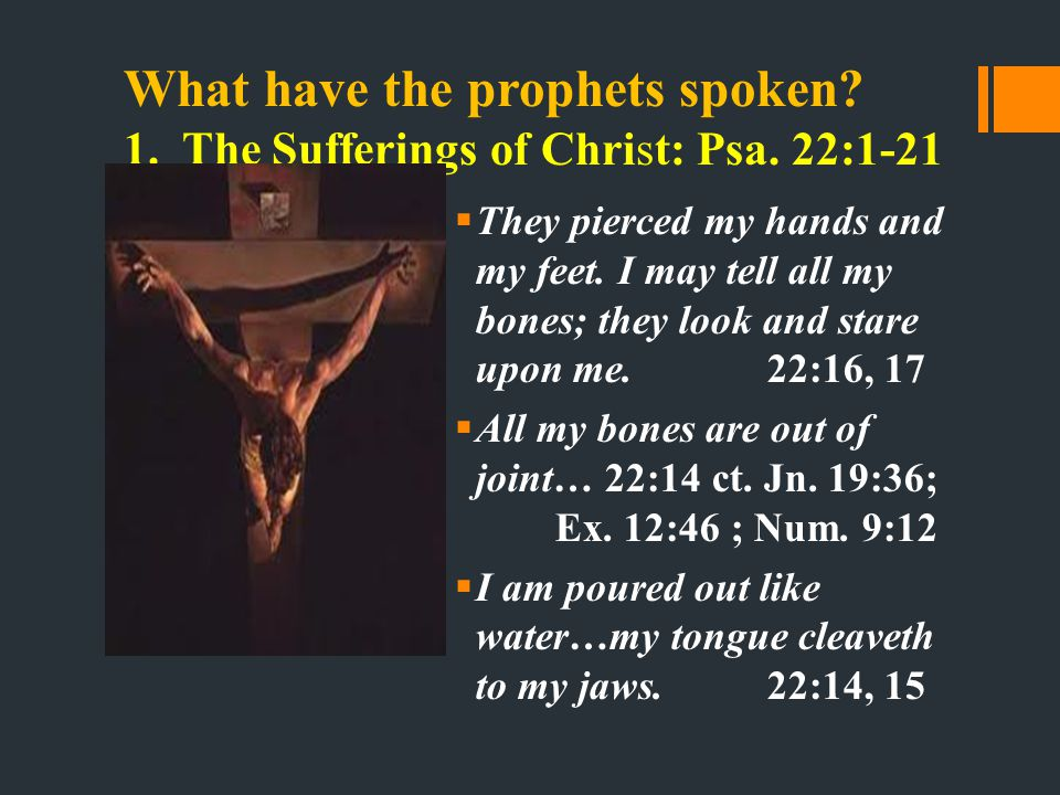 What have the prophets spoken. 1. The Sufferings of Christ: Psa.