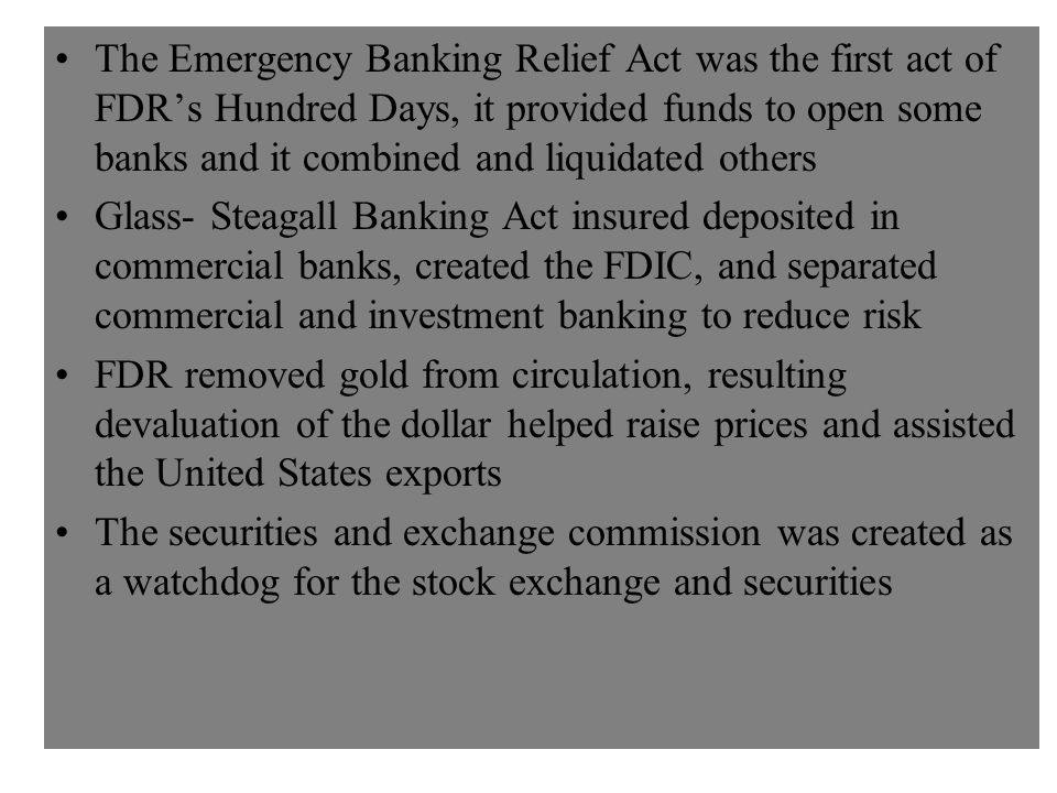 FDR's Banking Acts, the Gold Standard, and the SEC