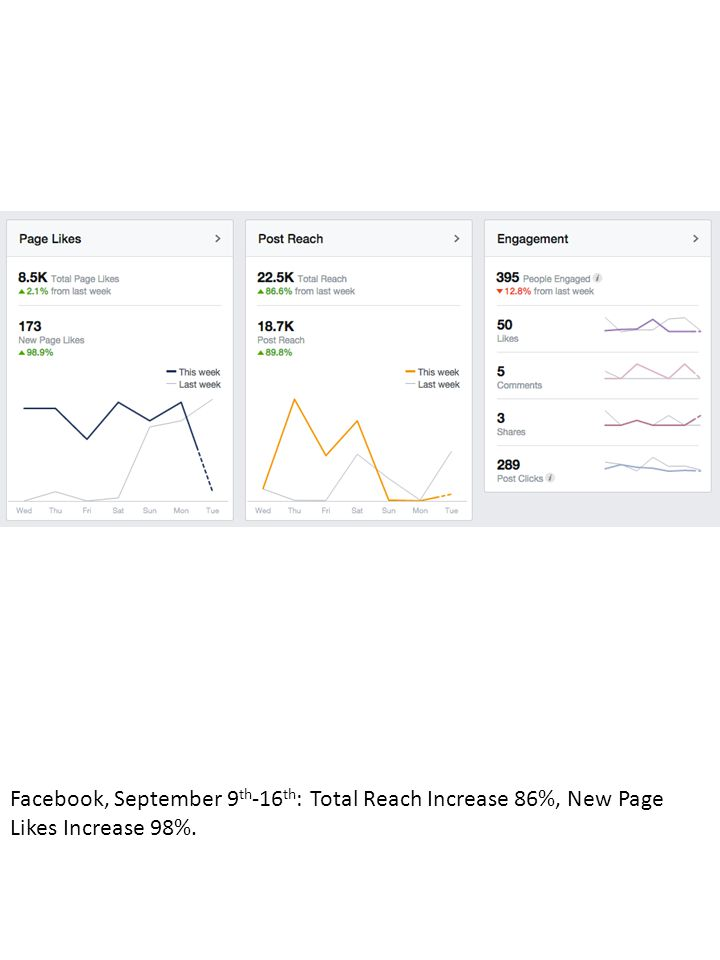 Facebook, September 9 th -16 th : Total Reach Increase 86%, New Page Likes Increase 98%.