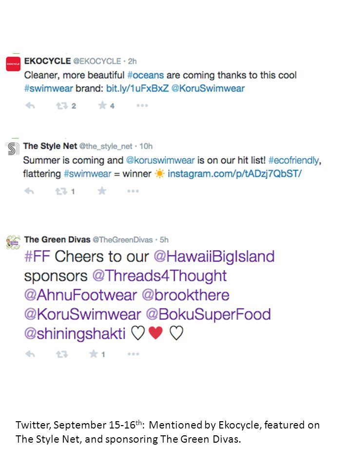 Twitter, September 15-16 th : Mentioned by Ekocycle, featured on The Style Net, and sponsoring The Green Divas.