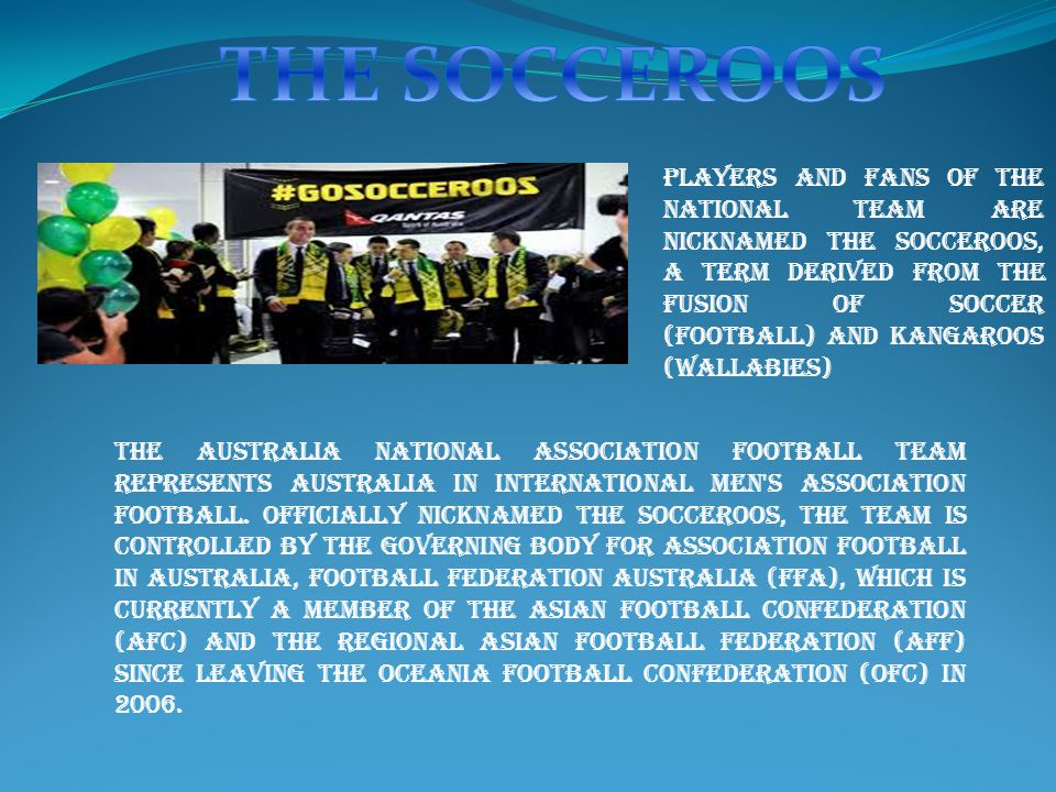 the Australia national association football team represents Australia in international men s association football.