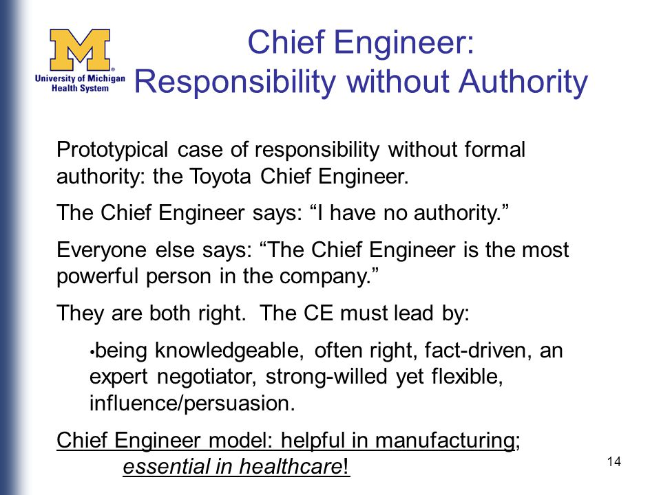 14 Prototypical case of responsibility without formal authority: the Toyota Chief Engineer.