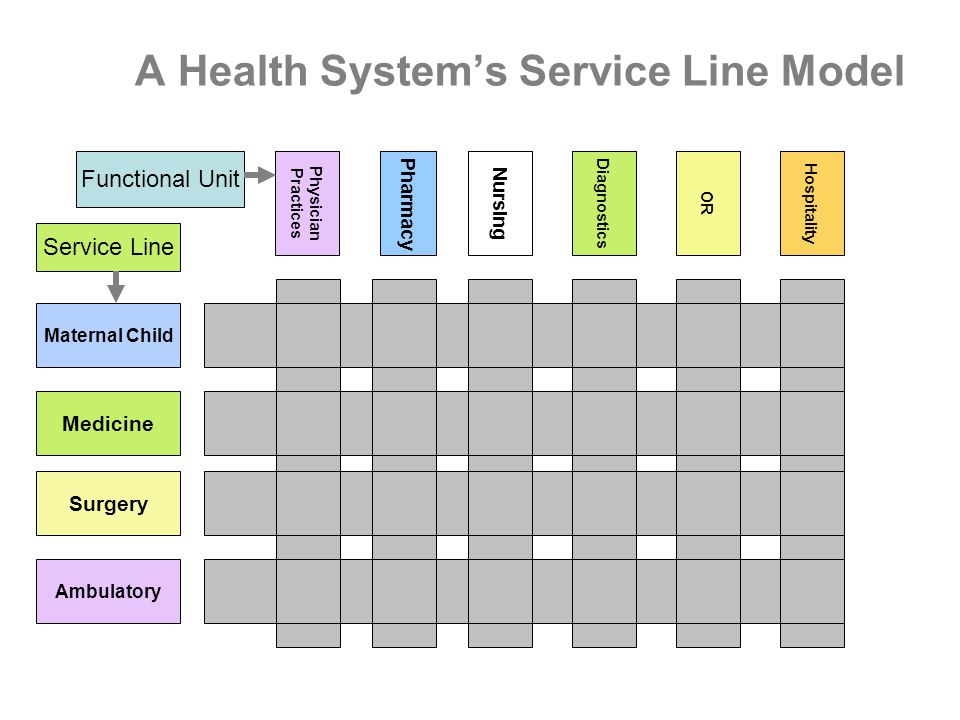 A Health System's Service Line Model Maternal Child Physician Practices Medicine Surgery Ambulatory Nursing DiagnosticsORHospitality Service Line Functional Unit Pharmacy