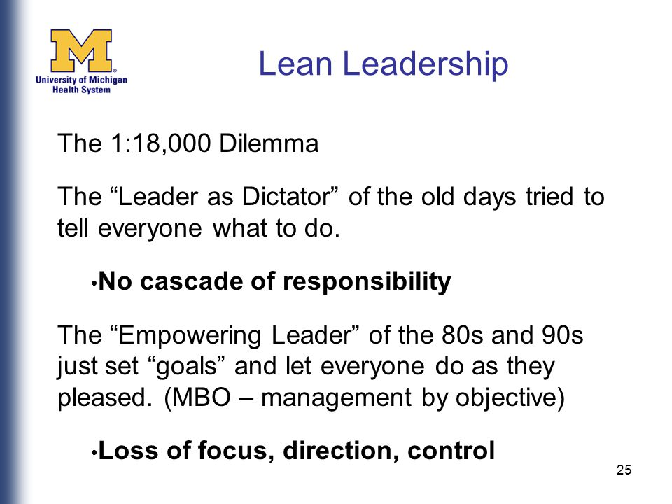 25 The 1:18,000 Dilemma The Leader as Dictator of the old days tried to tell everyone what to do.