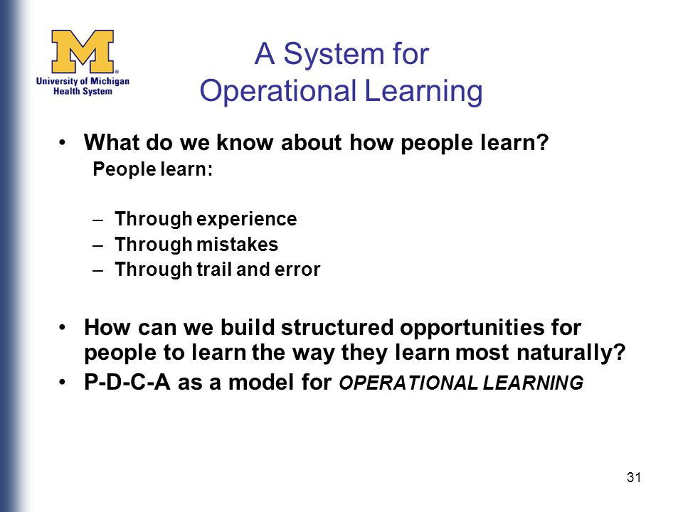 31 A System for Operational Learning What do we know about how people learn.