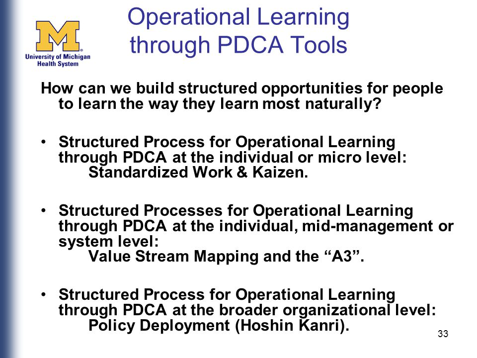33 Operational Learning through PDCA Tools How can we build structured opportunities for people to learn the way they learn most naturally.