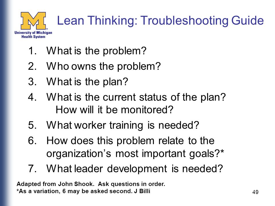 49 Lean Thinking: Troubleshooting Guide 1.What is the problem.