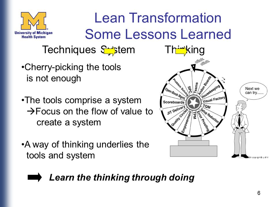 6 cartoon copyright © U of M Cherry-picking the tools is not enough The tools comprise a system  Focus on the flow of value to create a system A way of thinking underlies the tools and system Learn the thinking through doing Techniques System Thinking Lean Transformation Some Lessons Learned