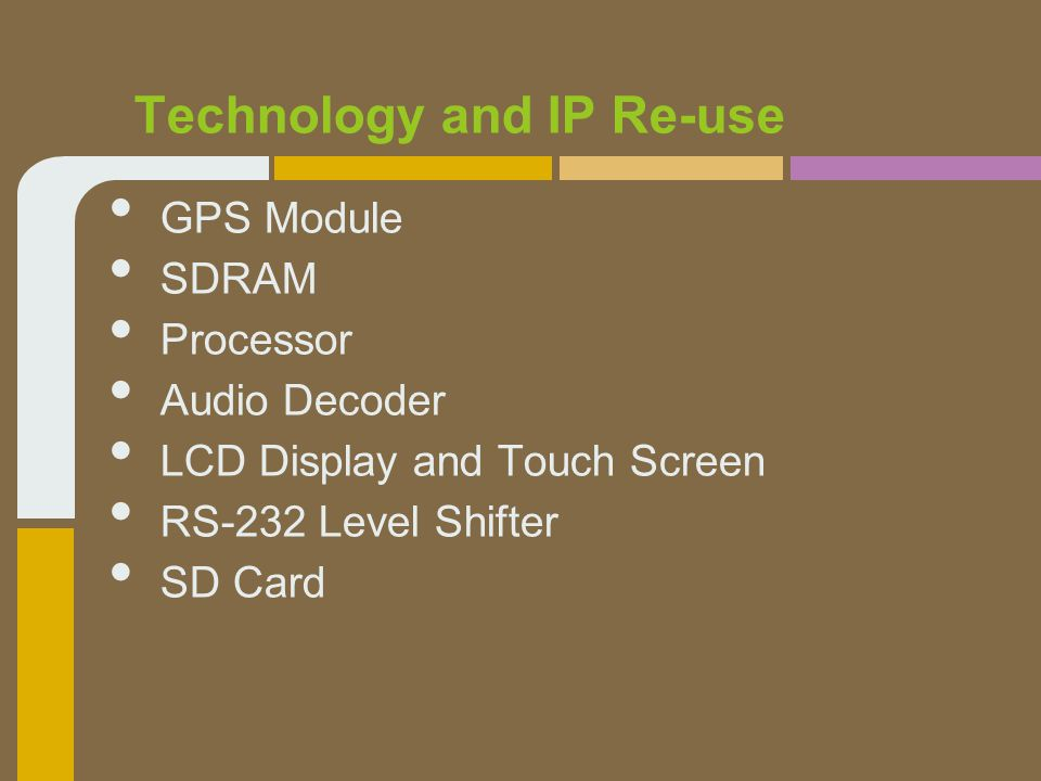 GPS Module SDRAM Processor Audio Decoder LCD Display and Touch Screen RS-232 Level Shifter SD Card Technology and IP Re-use
