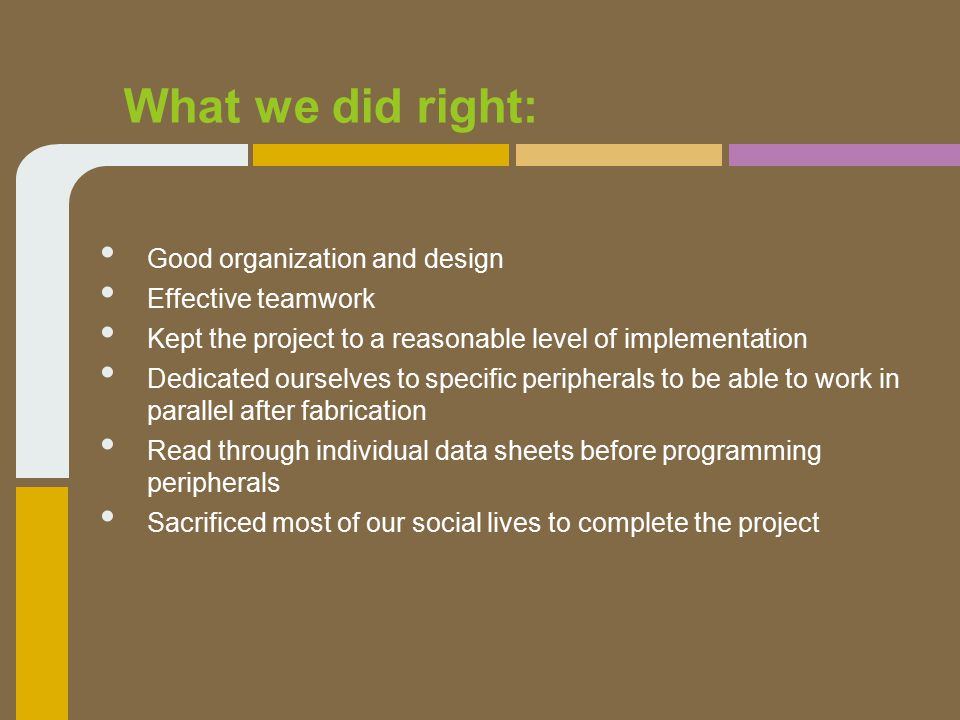 What we did right: Good organization and design Effective teamwork Kept the project to a reasonable level of implementation Dedicated ourselves to specific peripherals to be able to work in parallel after fabrication Read through individual data sheets before programming peripherals Sacrificed most of our social lives to complete the project