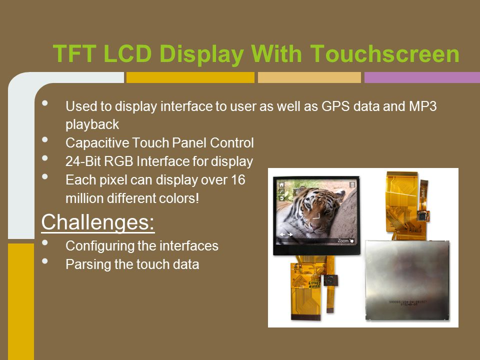 TFT LCD Display With Touchscreen Used to display interface to user as well as GPS data and MP3 playback Capacitive Touch Panel Control 24-Bit RGB Interface for display Each pixel can display over 16 million different colors.