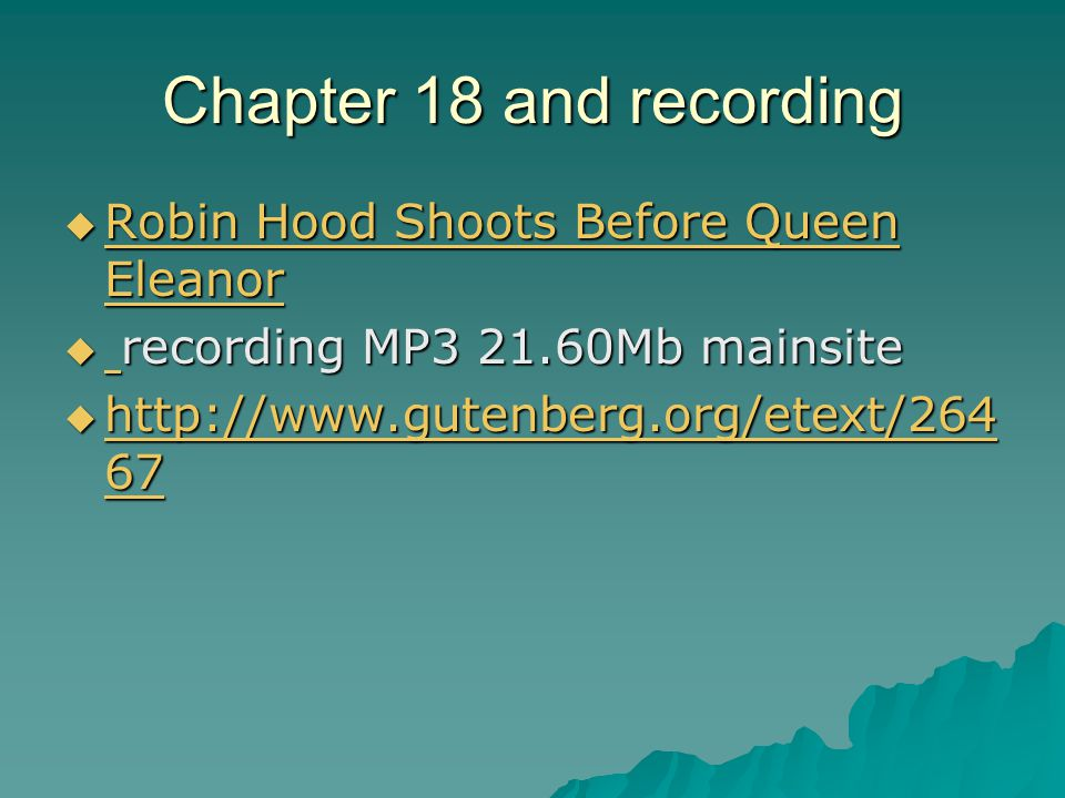 Chapter 18 and recording  Robin Hood Shoots Before Queen Eleanor Robin Hood Shoots Before Queen Eleanor Robin Hood Shoots Before Queen Eleanor  recording MP3 21.60Mb mainsite  http://www.gutenberg.org/etext/264 67 http://www.gutenberg.org/etext/264 67 http://www.gutenberg.org/etext/264 67