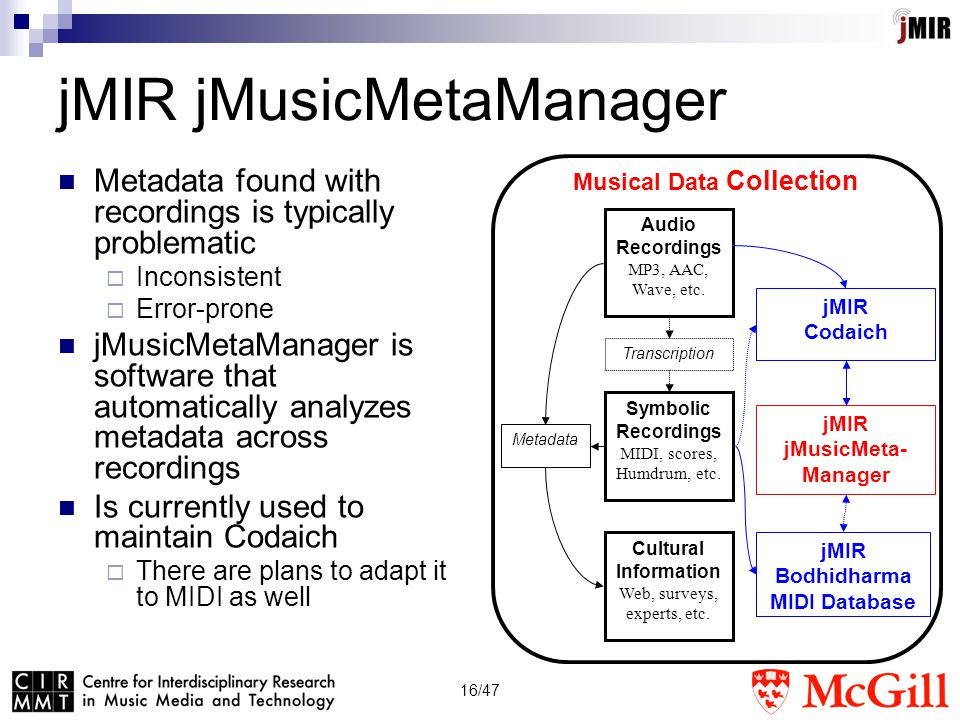 16/47 jMIR jMusicMetaManager Metadata found with recordings is typically problematic  Inconsistent  Error-prone jMusicMetaManager is software that automatically analyzes metadata across recordings Is currently used to maintain Codaich  There are plans to adapt it to MIDI as well Symbolic Recordings MIDI, scores, Humdrum, etc.