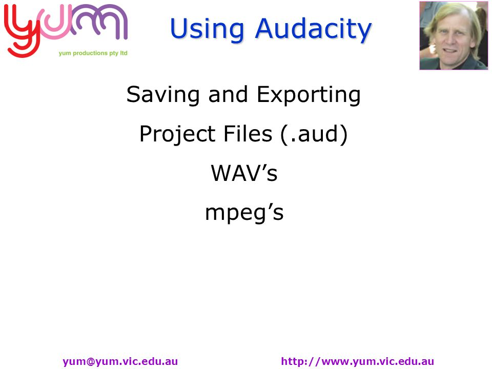 Using Audacity   Saving and Exporting Project Files (.aud) WAV's mpeg's