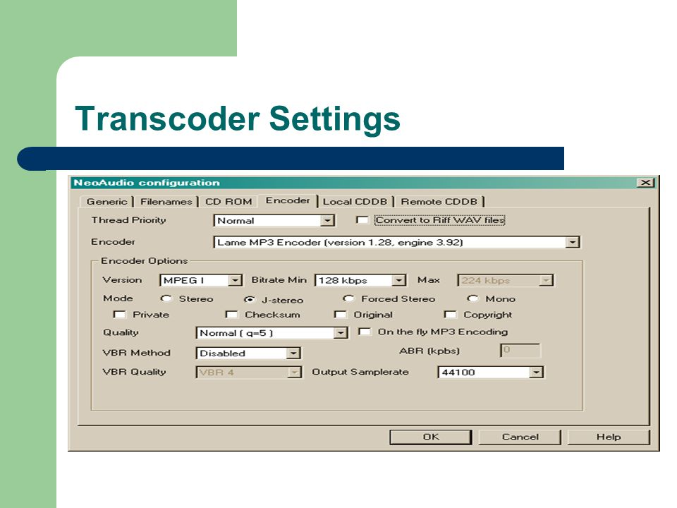 Transcoder Settings