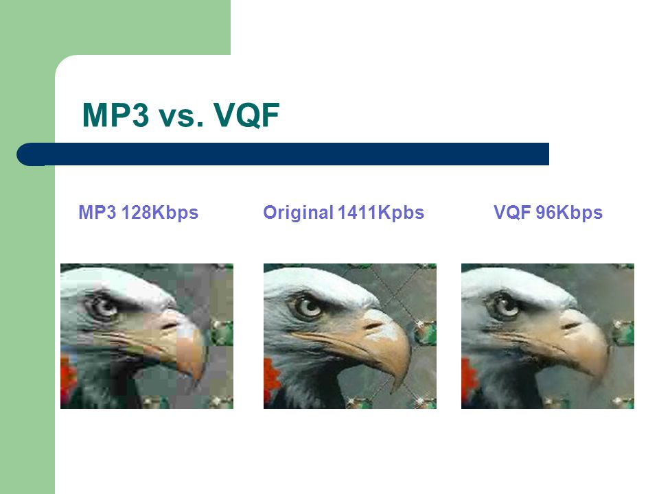 MP3 vs. VQF MP3 128Kbps Original 1411Kpbs VQF 96Kbps