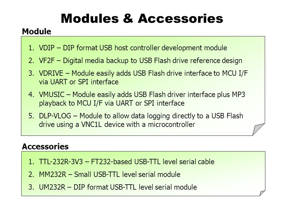 Modules & Accessories 1.VDIP – DIP format USB host controller development module 2.VF2F – Digital media backup to USB Flash drive reference design 3.VDRIVE – Module easily adds USB Flash drive interface to MCU I/F via UART or SPI interface 4.VMUSIC – Module easily adds USB Flash driver interface plus MP3 playback to MCU I/F via UART or SPI interface 5.DLP-VLOG – Module to allow data logging directly to a USB Flash drive using a VNC1L device with a microcontroller 1.TTL-232R-3V3 – FT232-based USB-TTL level serial cable 2.MM232R – Small USB-TTL level serial module 3.UM232R – DIP format USB-TTL level serial module Module Accessories