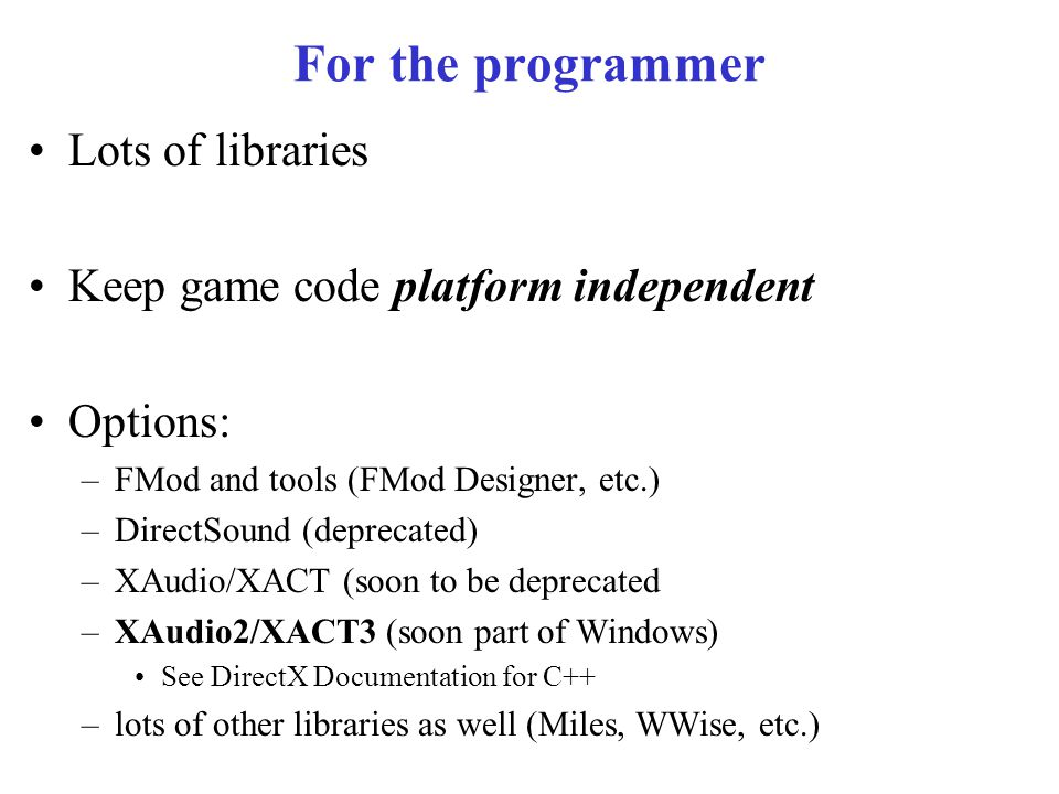 CSE 380 – Computer Game Programming Audio Engineering  - ppt