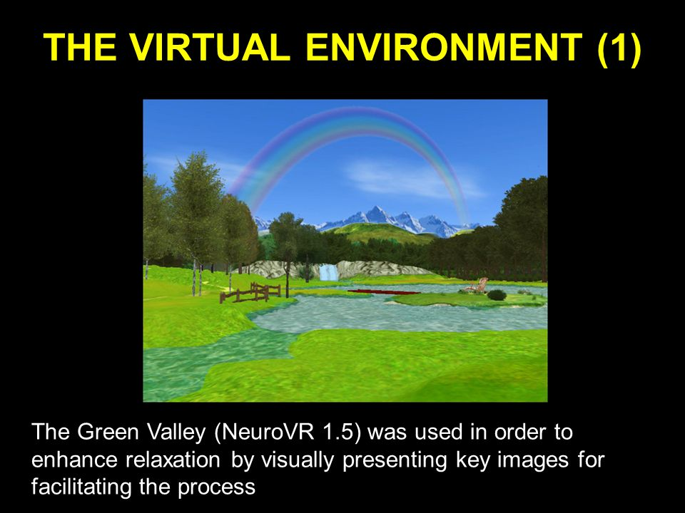THE VIRTUAL ENVIRONMENT (1) The Green Valley (NeuroVR 1.5) was used in order to enhance relaxation by visually presenting key images for facilitating the process