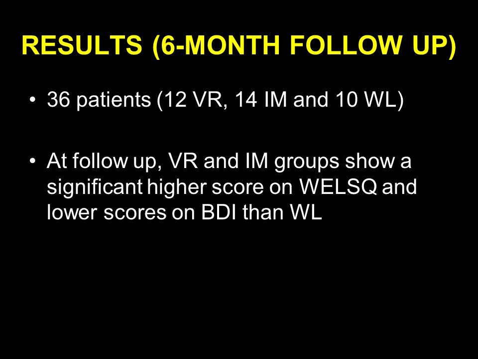 RESULTS (6-MONTH FOLLOW UP) 36 patients (12 VR, 14 IM and 10 WL) At follow up, VR and IM groups show a significant higher score on WELSQ and lower scores on BDI than WL