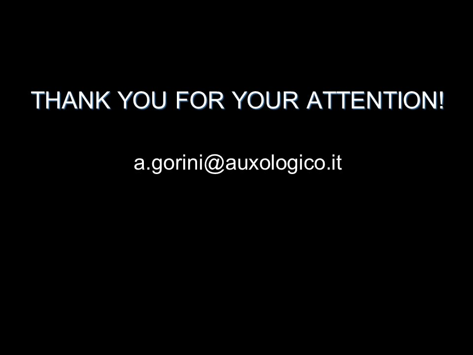 THANK YOU FOR YOUR ATTENTION! a.gorini@auxologico.it