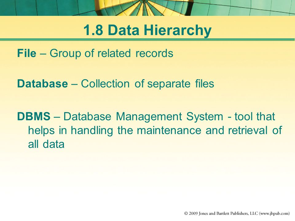 File – Group of related records Database – Collection of separate files DBMS – Database Management System - tool that helps in handling the maintenance and retrieval of all data