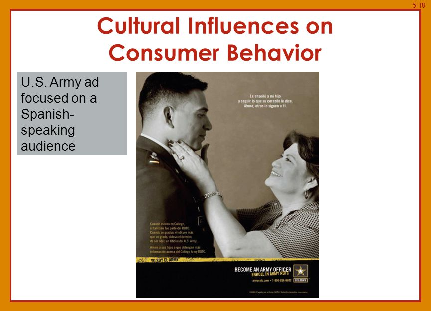 5-18 U.S. Army ad focused on a Spanish- speaking audience Cultural Influences on Consumer Behavior